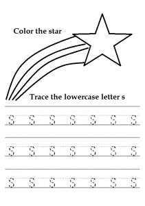 Trace the lowercase letter s worksheet for color the star