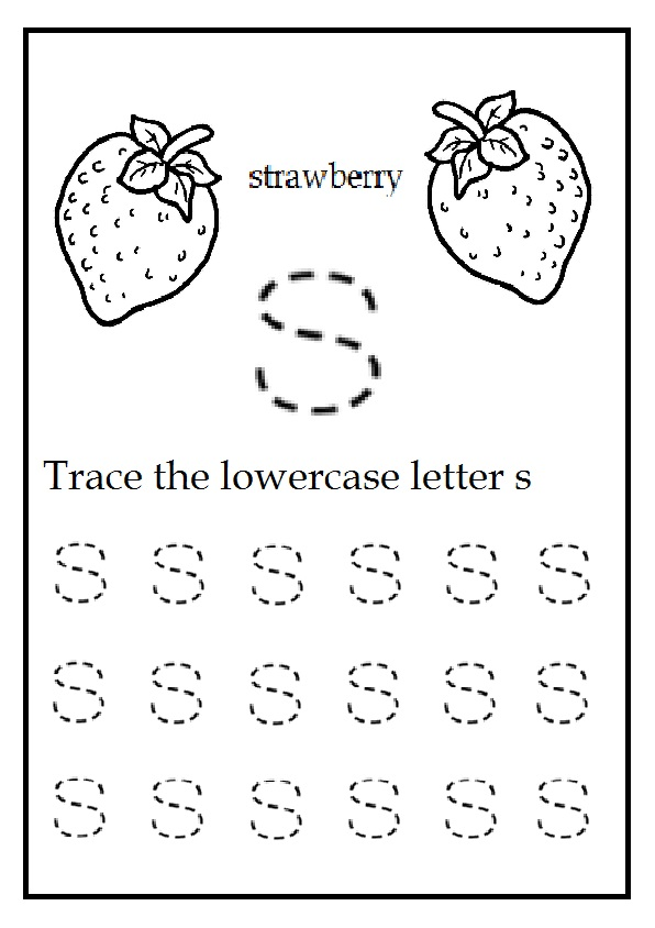 trace the lowercase letter s worksheet for kindergarten color the strawberry preschool crafts. Black Bedroom Furniture Sets. Home Design Ideas