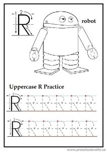 Tracing uppercase letter r is for robot homework for first grade