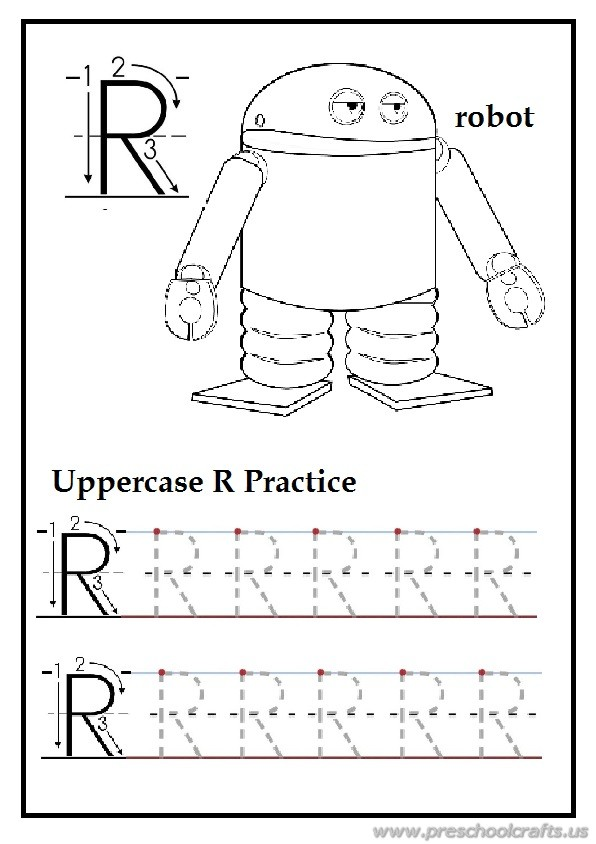 tracing uppercase letter r is for robot homework for first grade preschool crafts. Black Bedroom Furniture Sets. Home Design Ideas