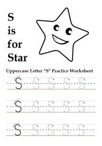 Uppercase letter S worksheet for preschool, kindergarten, 1st grade