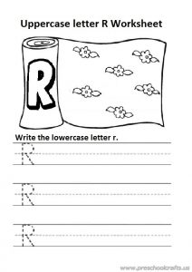 Write the uppercase letter r is for rug colouring worksheet