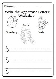 Write the uppercase letter S worksheet for kindergarten and 1st grade