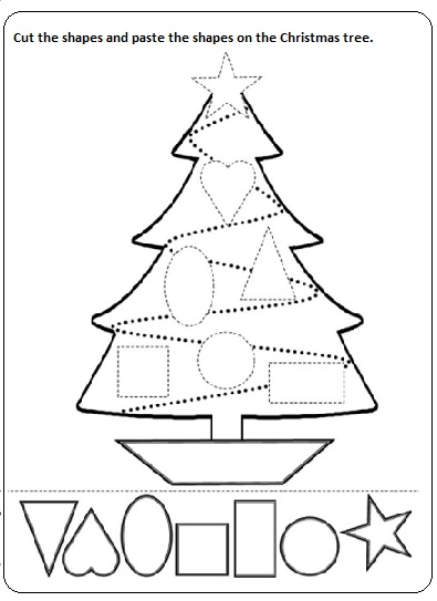 Cut Paste Printable Worksheets : Christmas tree preschool shape worksheet best