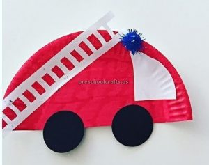 firetruck - fire engine craft ideas for preschooler and kindergartner