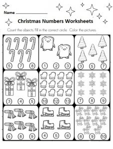 free preschool christmas numbers worksheets