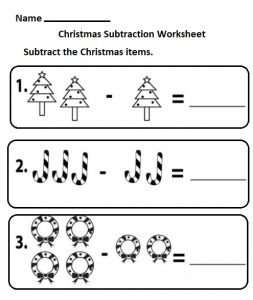 free printable subtraction christmas worksheet for kindergarten