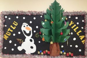 happy new year with olaf kids fun bulletin board ideas - Christmas Bulletin Board Decorations