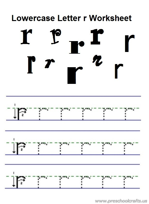 lowercase letter r practice worksheet for preschool free printable - Preschool Free Printables