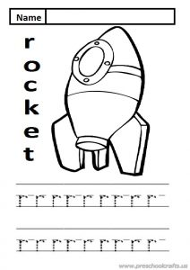 lowercase letter r practice worksheet is for rocket sheet for kindergarten