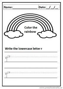 write the lowercase letter r worksheet for preschool and kindergarten