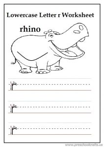 writing lowercase letter r is for rhino worksheets for 1st grade