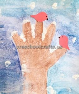 Handprint winter Tree Craft ideas bird craft ideas for preschool
