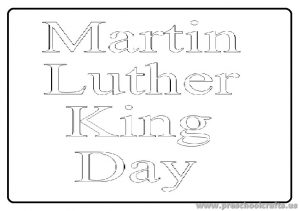 Martin Luther King Day Coloring Page for Preschool Kindergarten