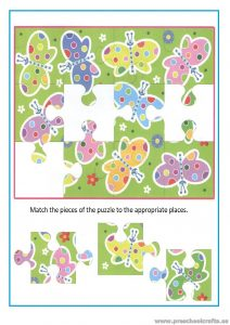 Match puzzle worksheet for preschool and kindergarten