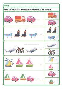 Pattern worksheet for preschool and kindergarten