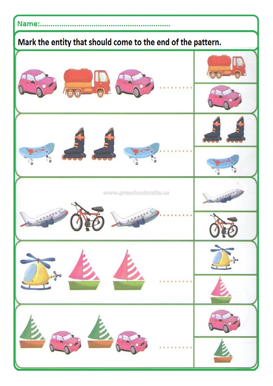 Pattern Worksheet Free Printable For Kindergarten And Preschool