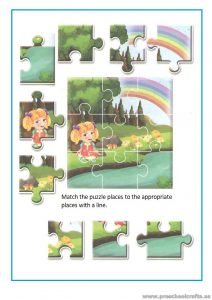 Preschool puzzle colored worksheet