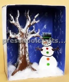 Sonwman and winter Tree Craft ideas for kids