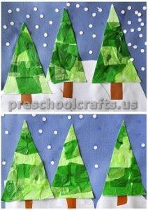 Winter Tree art activities ideas for preschool