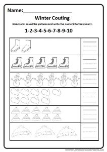 Winter count 1 to 10 worksheet free printable for preschool and kindergarten