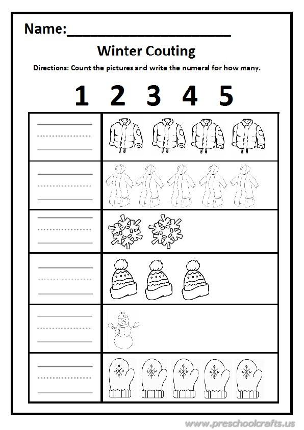 Winter Worksheet for Preschool and Kindergarten / Free Printable ...