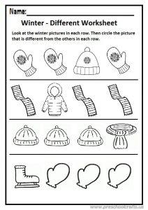 Winter different worksheet preschool and kindergarten