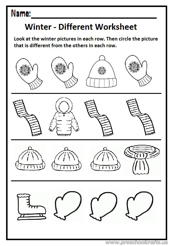 Winter different worksheet preschool and kindergarten ...