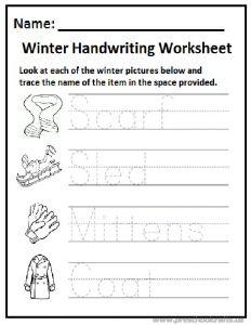 Winter handwriting worksheet preschool and kindergarten
