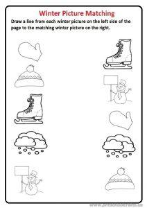 Winter picture matching worksheet for preschool and kindergarten