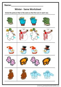 Winter same worksheet preschool and kindergarten