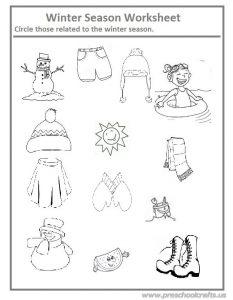 Winter season worksheet for preschool and kindergarten