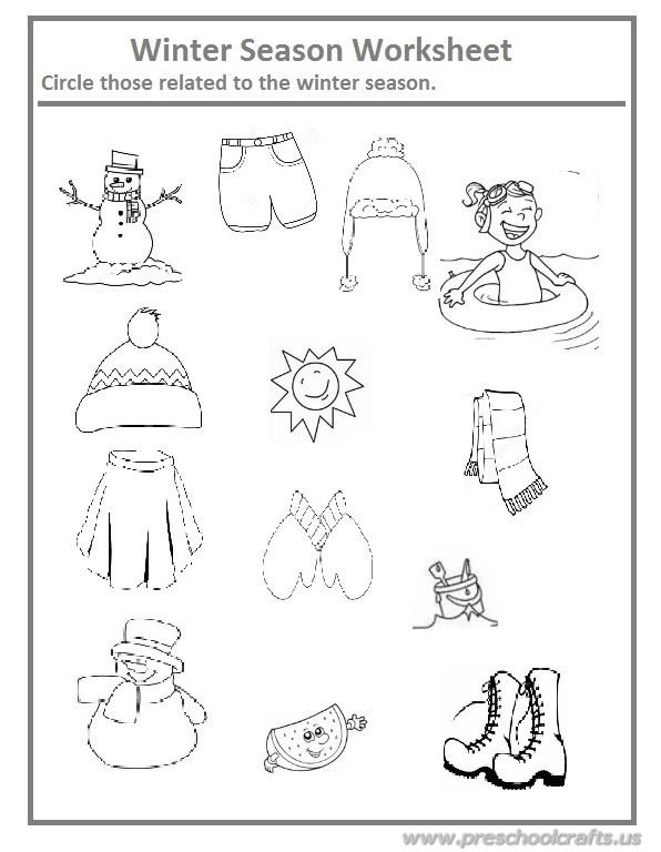 winter season worksheet for preschool and kindergarten preschool crafts. Black Bedroom Furniture Sets. Home Design Ideas