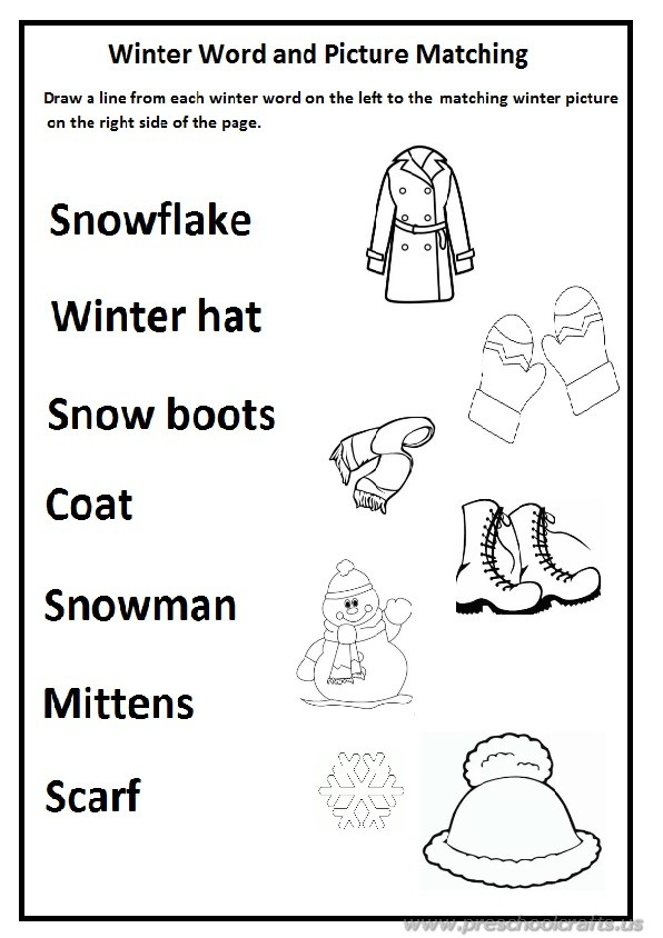 Winter Worksheet for Preschool and Kindergarten / Free Printable ...