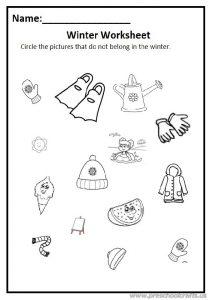 Winter worksheet for preschool free printable