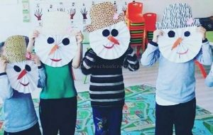 snowman mask craft ideas for preschool and kindergarten