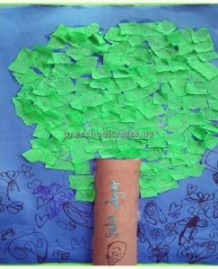 toilet paper tree craft idea for preschool and kindergarten