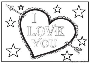 Happy Valentines Day - I love You Coloring Page