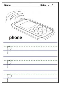 Write the lowercase letter p is for phone printables worksheet for preschool and kindergarten