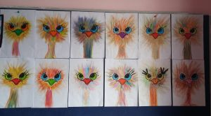 colored ostrich art activity bulletin board for preschool