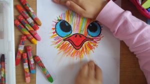 kids ostrich coloring activity idea