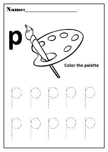 lowercase letter p worksheet for preschool and kindergarten