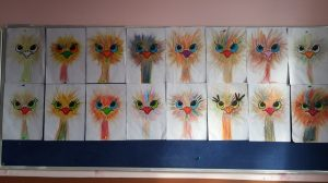 ostrich bulletin board idea for kindergarten