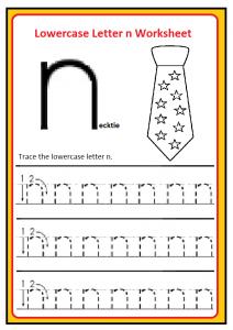 lowercase letter n worksheets free printable preschool and kindergarten. Black Bedroom Furniture Sets. Home Design Ideas