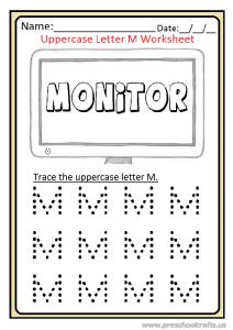 Uppercase Letter M Trace Worksheet Preschool And Kindergarten