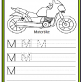 Uppercase Letter M Write Worksheet for Kindergarten and Preschool