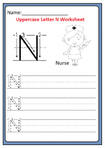 uppercase letter n worksheets free printable preschool and kindergarten. Black Bedroom Furniture Sets. Home Design Ideas