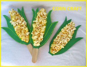 corn spring craft idea by popcorn and stick for kids