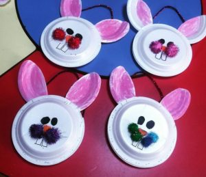 preschool spring themed rabbit crafts by paper plate