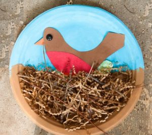 spring themed bird nest paper plate craft idea for kids